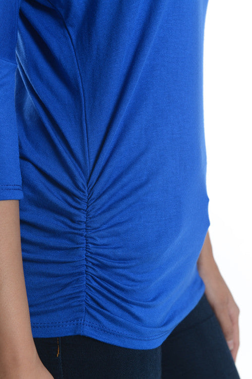 Easy Ruched Top in Blue