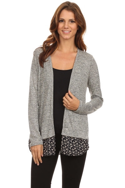 American Made Women's Grey Mixed Media Cardigan Front