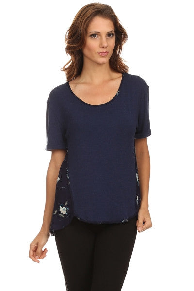 American Made Women's Navy Floral Mixed Media Top Front