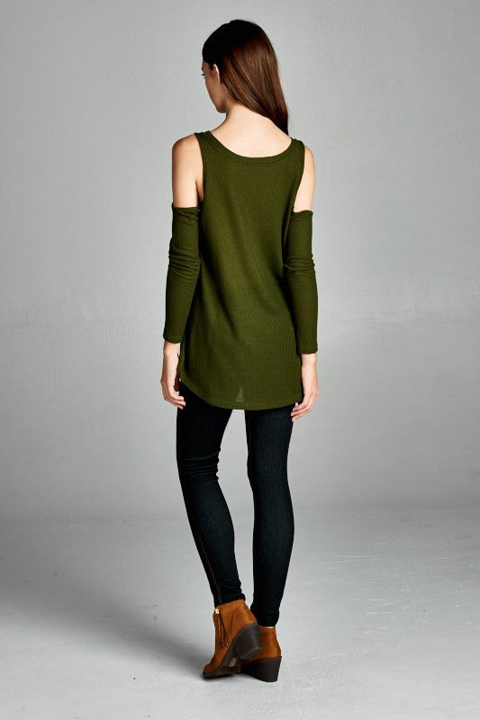 Chill Out Cold Shoulder Top in Olive
