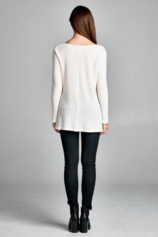 Made in USA Women's Ivory Thermal V-Neck Back