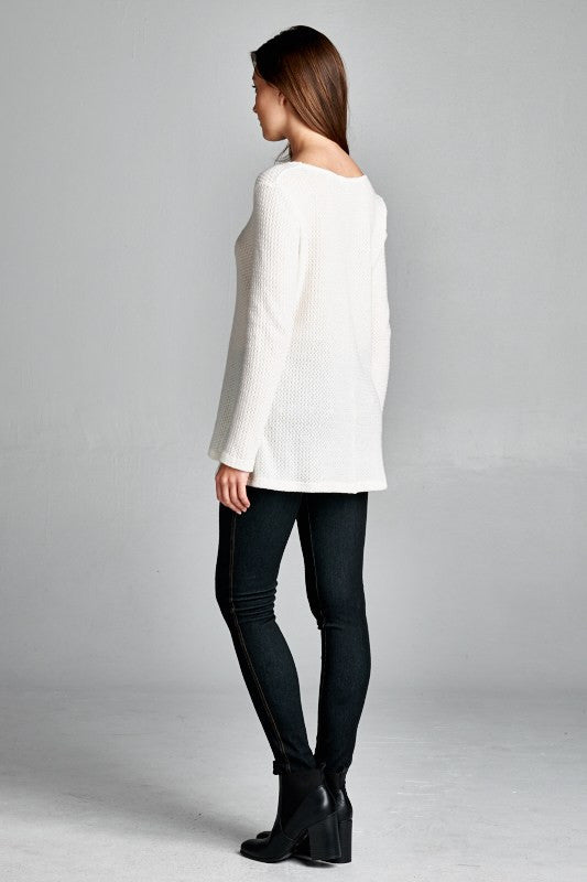 Made in USA Women's Ivory Thermal V-Neck Back Side View