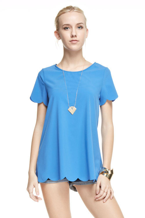 Made in USA women's blue top with scalloped hem and sleeves