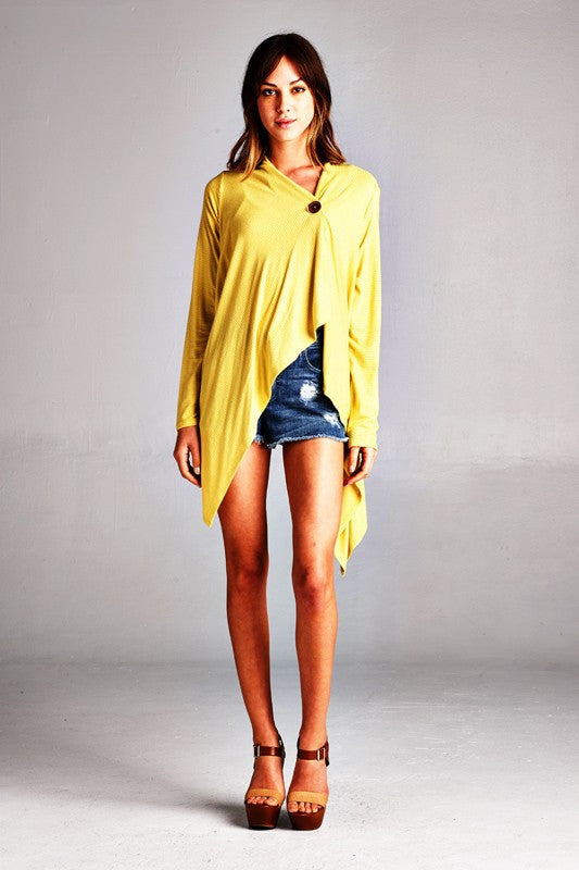 American made women's one button yellow cardigan front