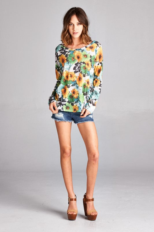 US Made women's sweater in green retro floral