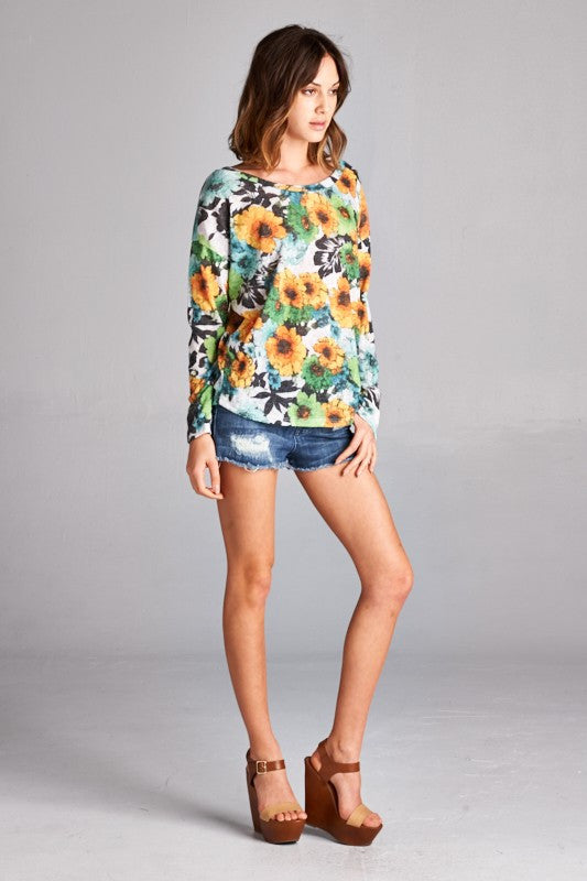 US Made women's sweater in green retro floral side