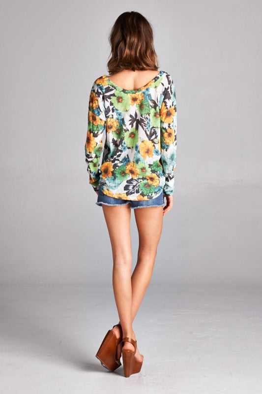 US Made women's sweater in green retro floral back view