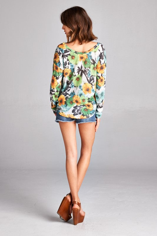 US Made women's sweater in green retro floral back