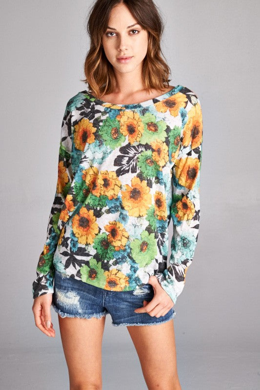 US Made women's sweater in green retro floral front