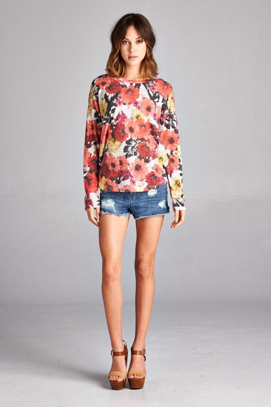 Made in USA women's sweater in red retro floral front