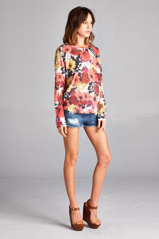 Made in USA women's sweater in red retro floral side view