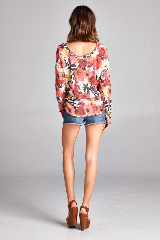 Made in USA women's sweater in red retro floral back view