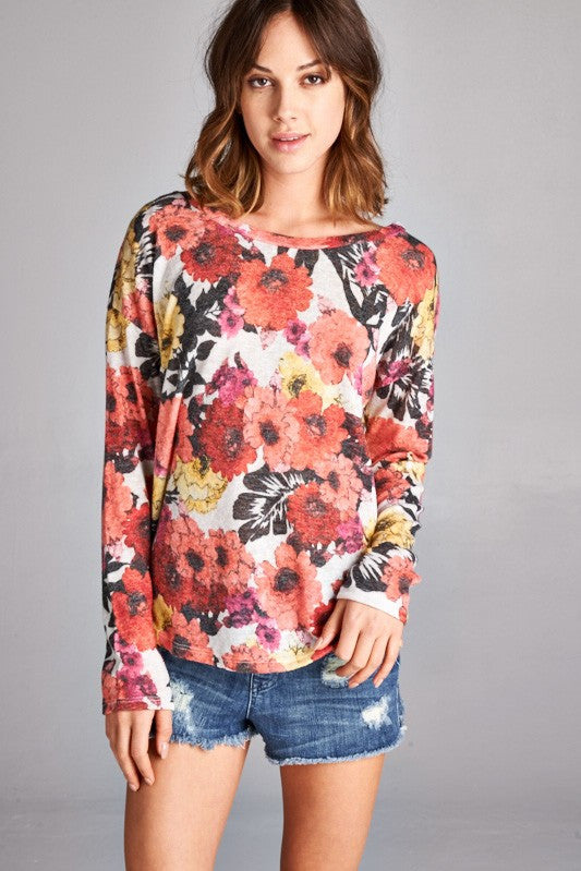 Made in USA women's sweater in red retro floral front closeup