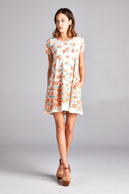 American made women's tunic dress in daisy print front view