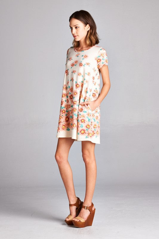 American made women's tunic dress in daisy print side view