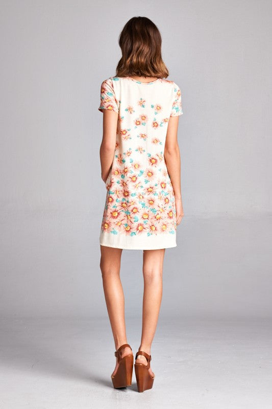 American made women's tunic dress in daisy print alternate back view