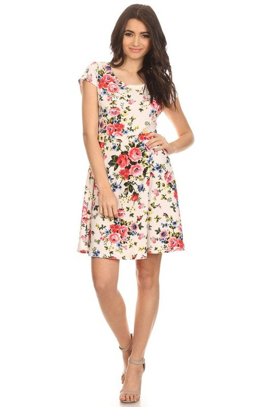 Made in USA Women's Ivory Floral Fit & Flare Dress Front