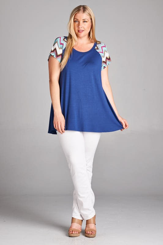 Chevron Pop Tee in Denim Blue