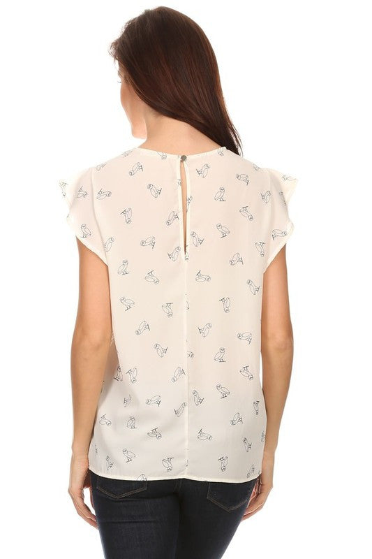 American Made Women's Owl Print Flutter Sleeve Top in Ivory Back View