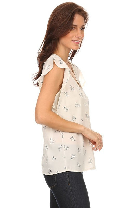 American Made Women's Owl Print Flutter Sleeve Top in Ivory Side View