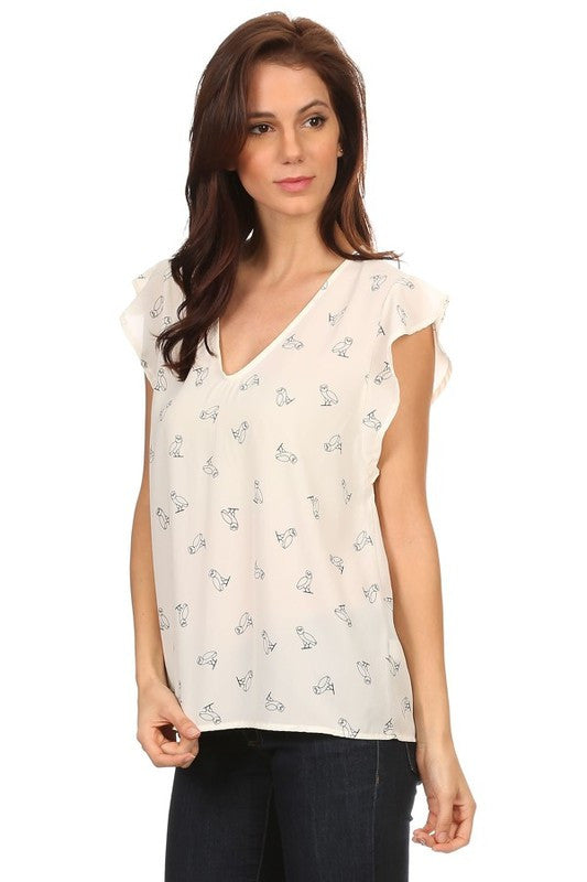 American Made Women's Owl Print Flutter Sleeve Top in Ivory Alt Side View
