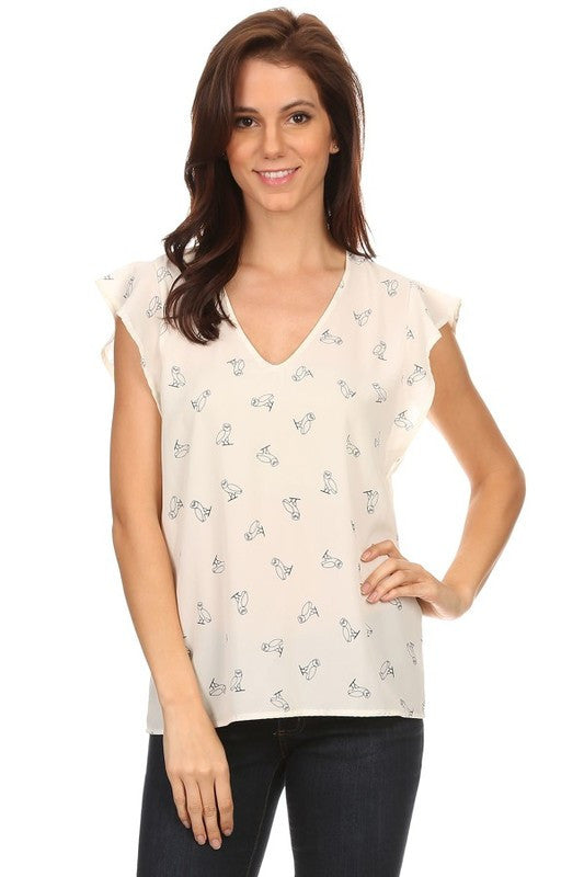 American Made Women's Owl Print Flutter Sleeve Top in Ivory Front