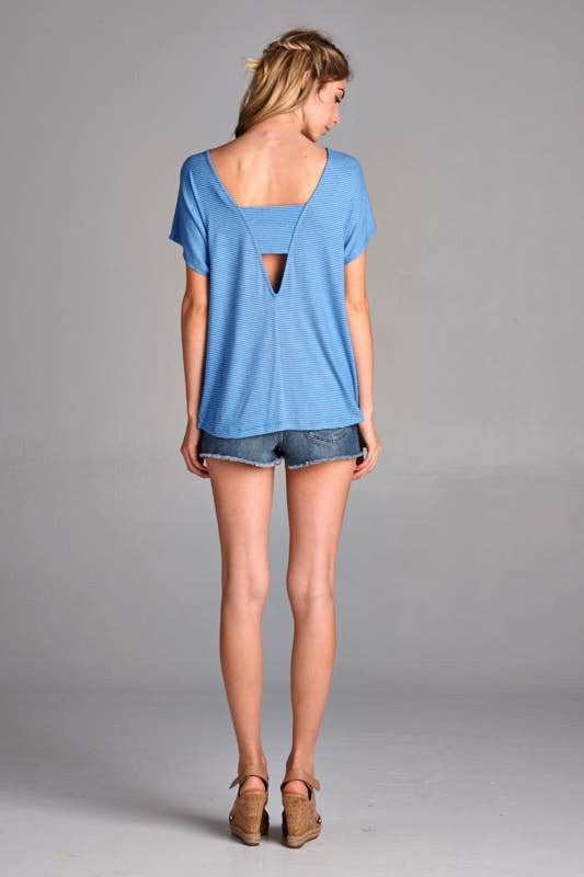 American Made Women's V-Back Top in Bright Blue Back View