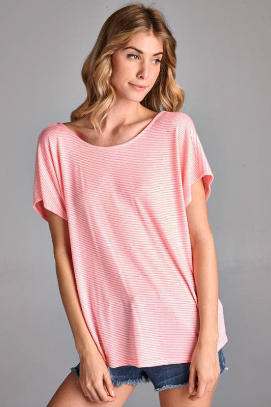 American Made Women's V-Back Top in Neon Pink Front View