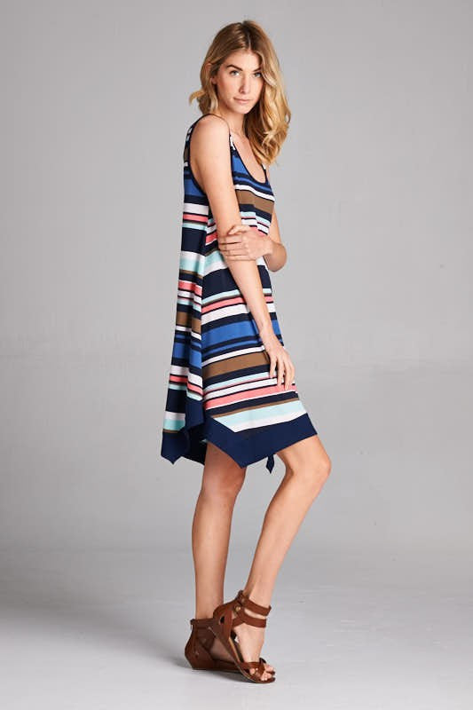 American Made Women's Striped Handkerchief Dress in Navy Side