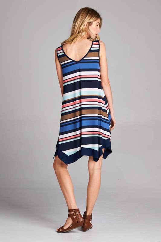 American Made Women's Striped Handkerchief Dress in Navy Back