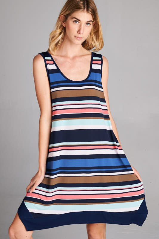 American Made Women's Striped Handkerchief Dress in Navy Closeup