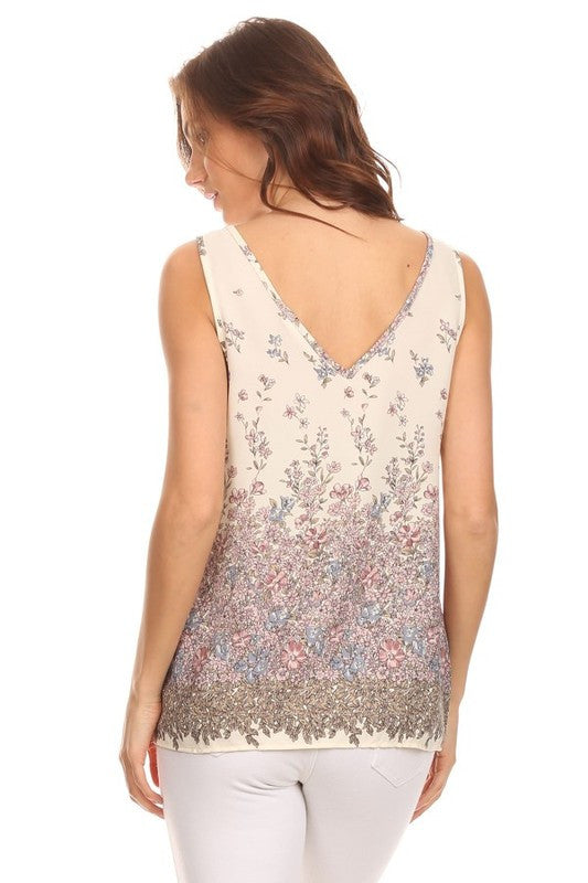 Made in USA Women's Tank Top in Cream Floral Back View
