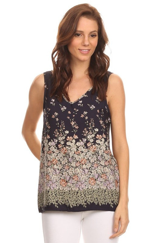 Made in USA Women's Tank Top in Navy Floral Front View