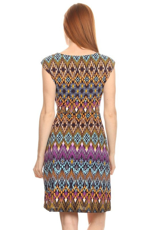 American Made Women's A Line Midi Dress in Tribal Pattern Back View