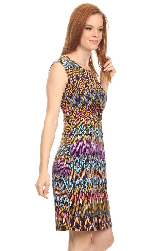 American Made Women's A Line Midi Dress in Tribal Pattern Side View 2