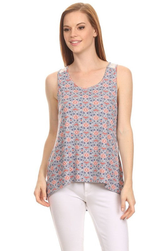 American-Made Women's Mixed Media Floral Tank Front View