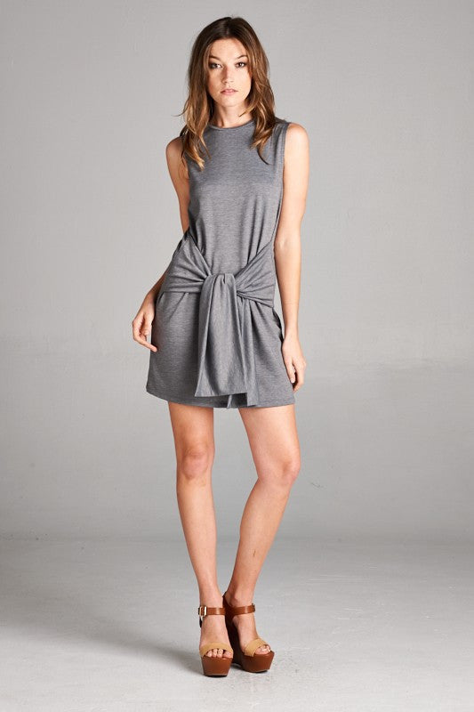Made in USA Women's Tie Waist Shift Dress in Grey Front View