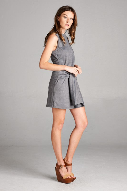 Made in USA Women's Tie Waist Shift Dress in Grey Side View