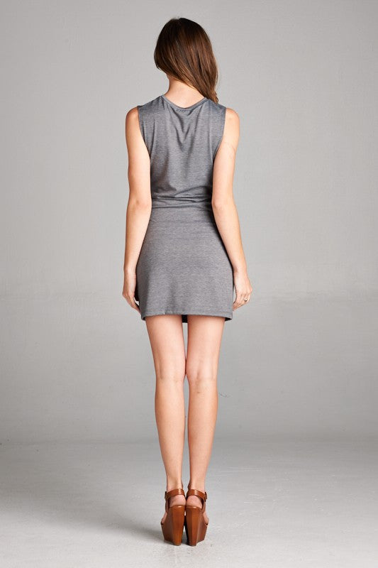 Made in USA Women's Tie Waist Shift Dress in Grey Back View