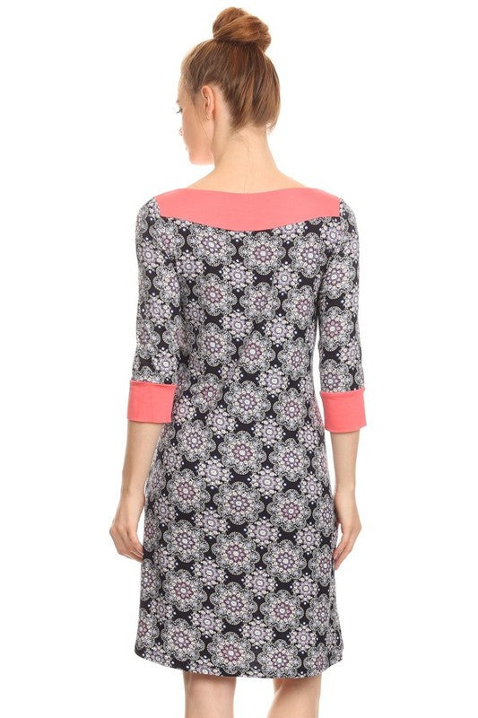 American Made Women's A-Line Shift Dress in Mosaic Tile Print Back View