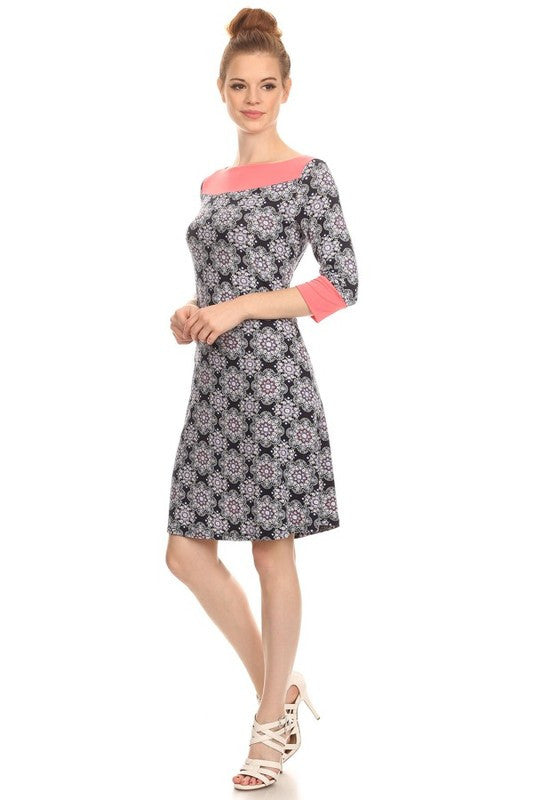 American Made Women's A-Line Shift Dress in Mosaic Tile Print Side View