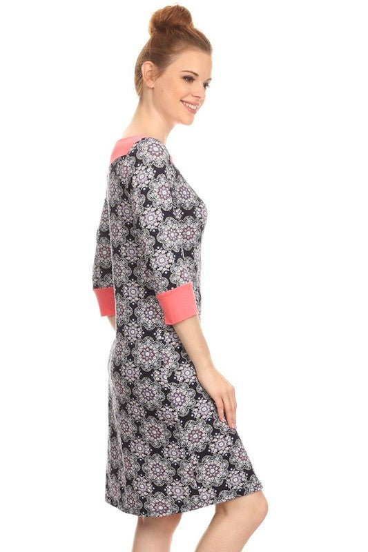 American Made Women's A-Line Shift Dress in Mosaic Tile Print Side View Alt