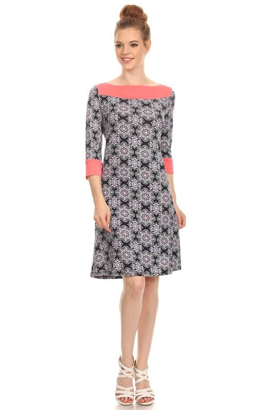 American Made Women's A-Line Shift Dress in Mosaic Tile Print Front View