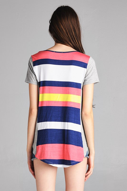 American Made Women's Tee in Bright Stripes Back View
