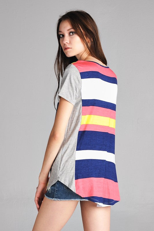 American Made Women's Tee in Bright Stripes Side View Alternate