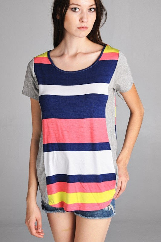 American Made Women's Tee in Bright Stripes Closeup