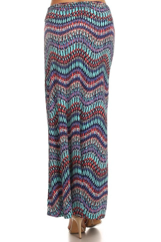 American Made Women's Abstract Chevron Maxi Skirt Back View