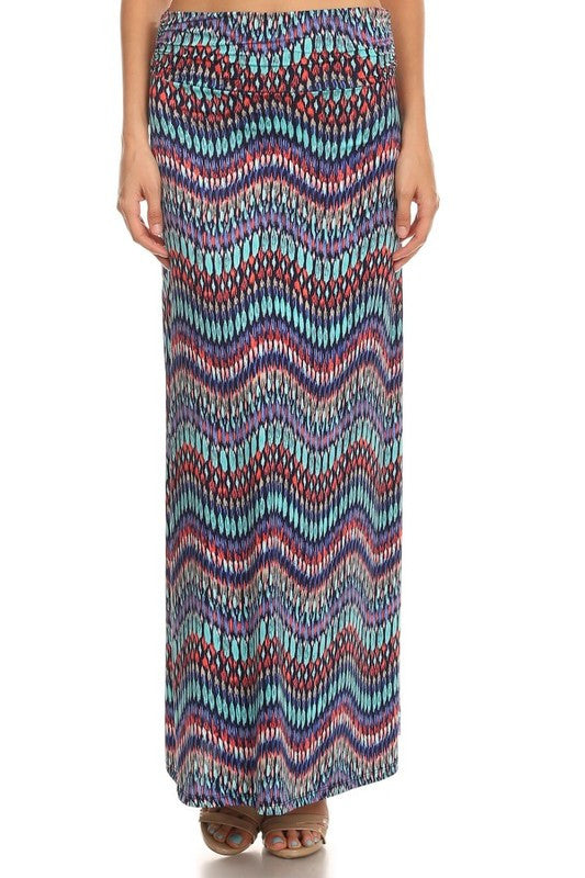 American Made Women's Abstract Chevron Maxi Skirt Front View