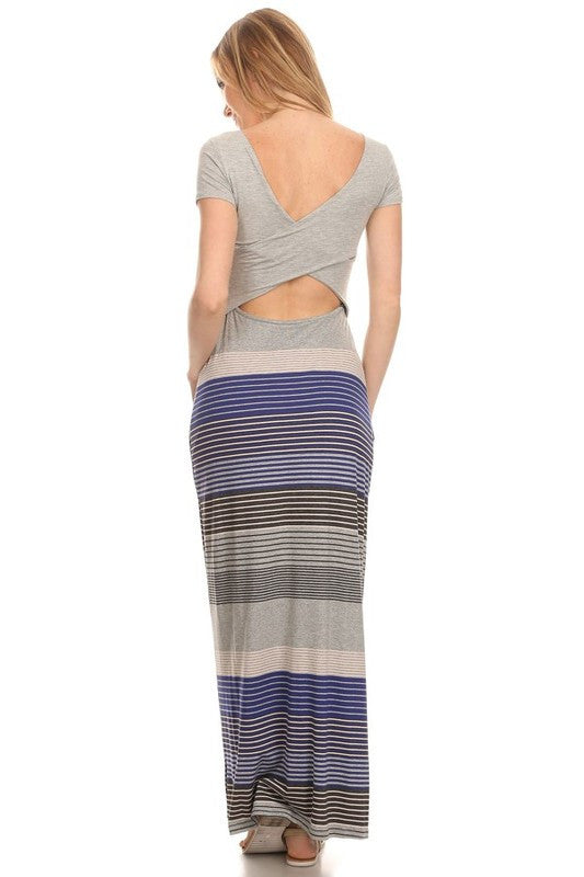 Made in USA Women's Striped Back Cutout Maxi Dress Back View