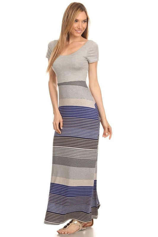 Made in USA Women's Striped Back Cutout Maxi Dress Side View